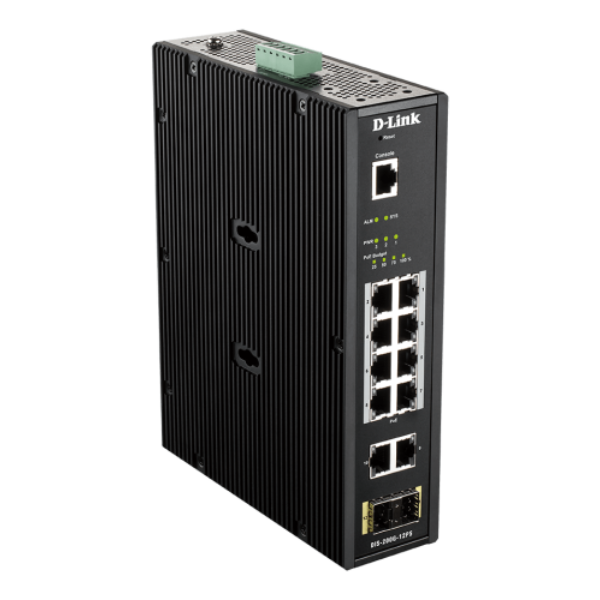 D-link 12 Port L2 Industrial Smart Managed Switch with 10 x 1GBaseT(X) ports (8