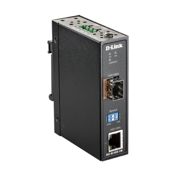 10/100/1000 Mbps to SFP Industrial Media Converter with -40 to 70 °C operating r