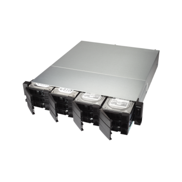 12-Bay quad-core 1.7 GHz rackmount NAS with 250W PSU, 4GB DDR4 UDIMM RAM (max 16