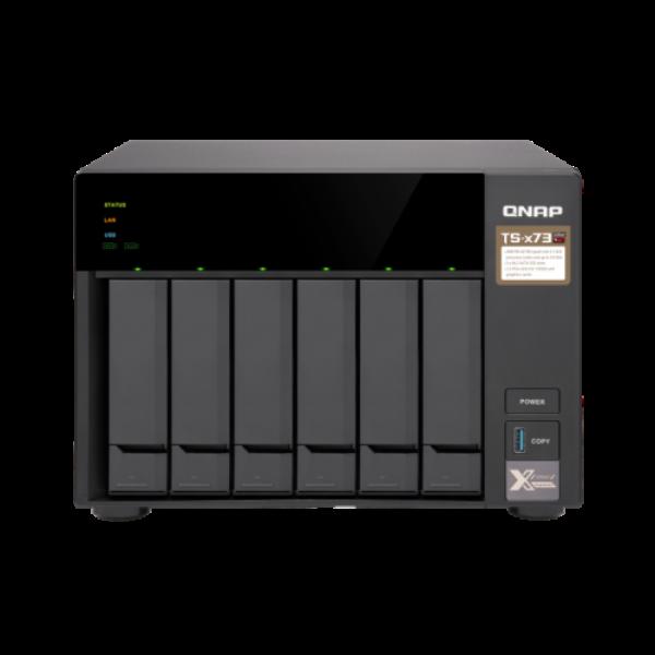 """6-Bay NAS, AMD RX-421ND 2.1~3.4 GHz, 4GB DDR4 RAM (max 64GB), 8x 2.5""""/3.5"""" + 2x"""