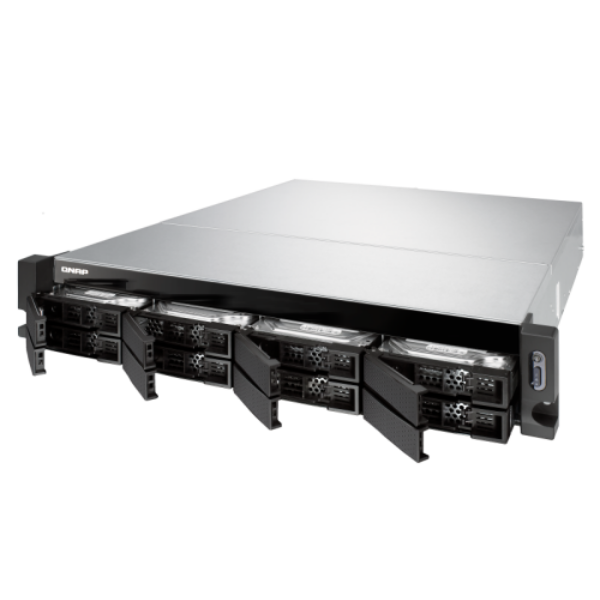 8-Bay quad-core 1.7 GHz rackmount NAS with 250W redundant PSU, 4GB DDR4 UDIMM RA